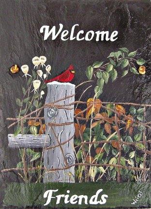 WhatsInGrampasShack Painted Slate Cardinal