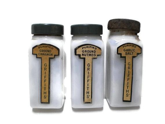 VintageCarolina Milk Glass Spice Jars Vintage